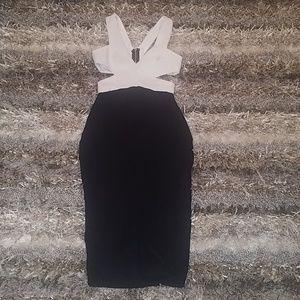 EUC Black/White side cutout bodycon dress